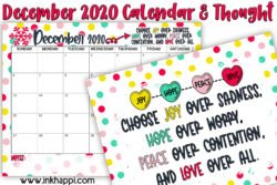 December 2020 Calendar and motivational print #freeprintables #calendar #motivationalthought