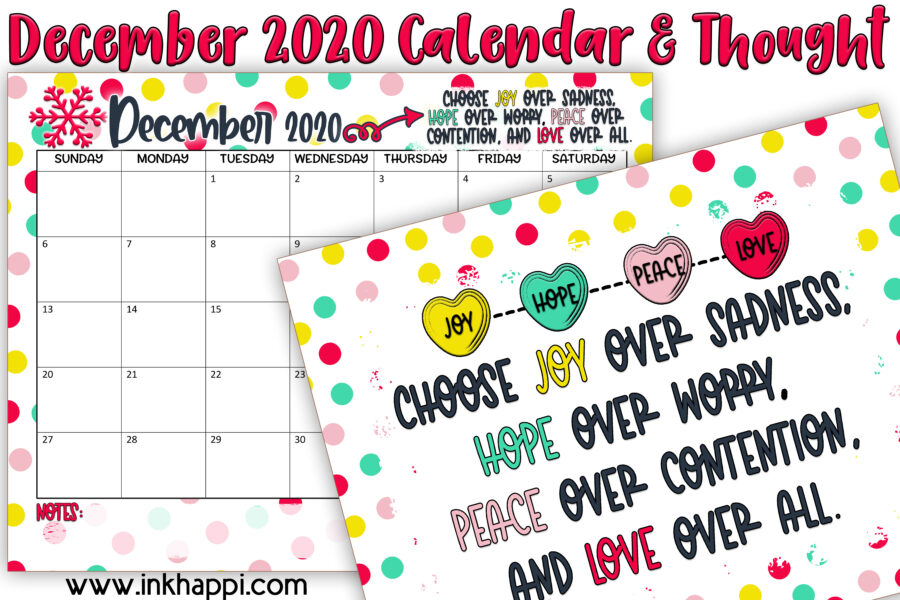 December 2020 Calendar and motivational print #freeprintables #calendar #motivationalthought