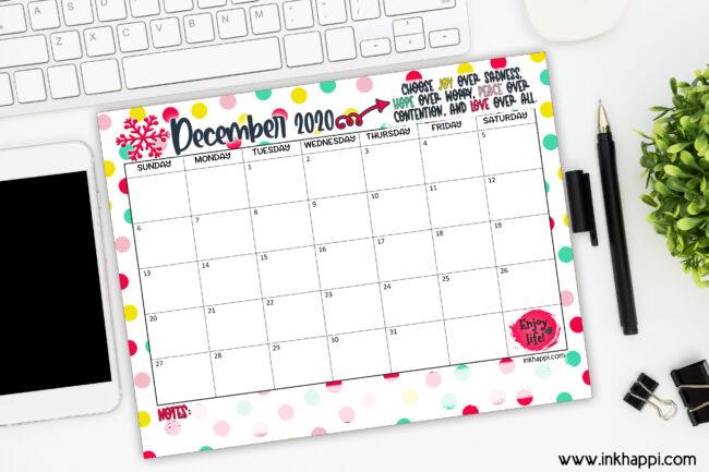 December 2020 Calendar and motivational print #freeprintables #calendar