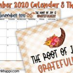 November 2020 Calendar and a thought about Gratitude!
