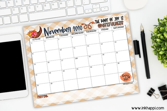November 2020 calendar. Free printable and a thought about gratitude.#calendar #gratitude #freeprintables