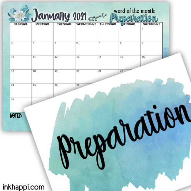 January 2021 Calendar and a word for the month: we share ideas on how you can incorporate tis word into your life. #calendar #freeprintables #oneword