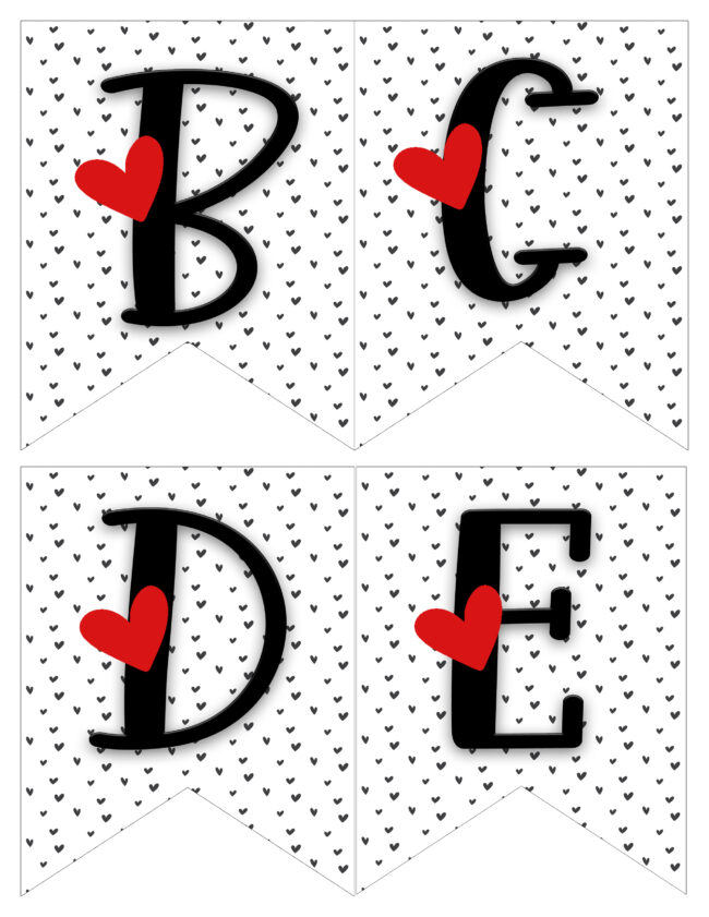 banners in red, black and white. Letters bcde