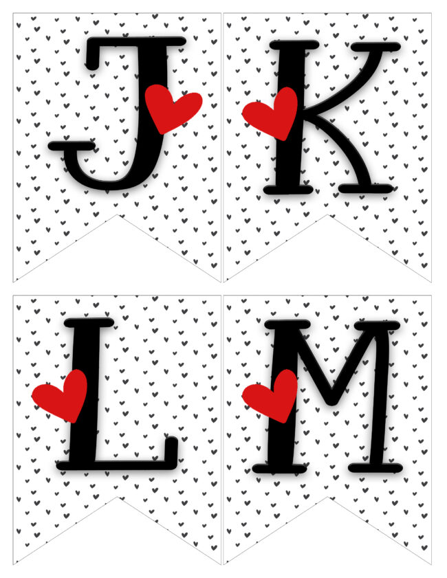 jetters in red, black and white. Letters jklm