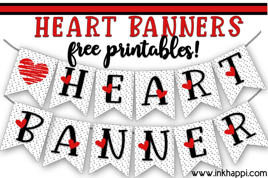 Heart banners in red, black and white. All letters from A-Z plus some fun hearts are ready to print. Print them up and share a fun banner message for someone special. #hearts #freeprintable #banners #valentines