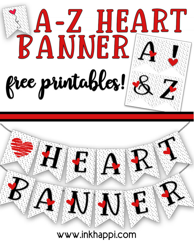 Love heart banners in red, black and white. All letters from A-Z plus some fun hearts are ready to print. Print them up and share a fun banner message for someone special. #hearts #freeprintable #banners #valentines