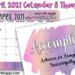 April 2021 Calendar with motivation to accomplish something!