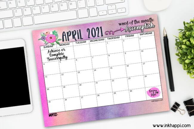 April 2021 calendar free printable!
