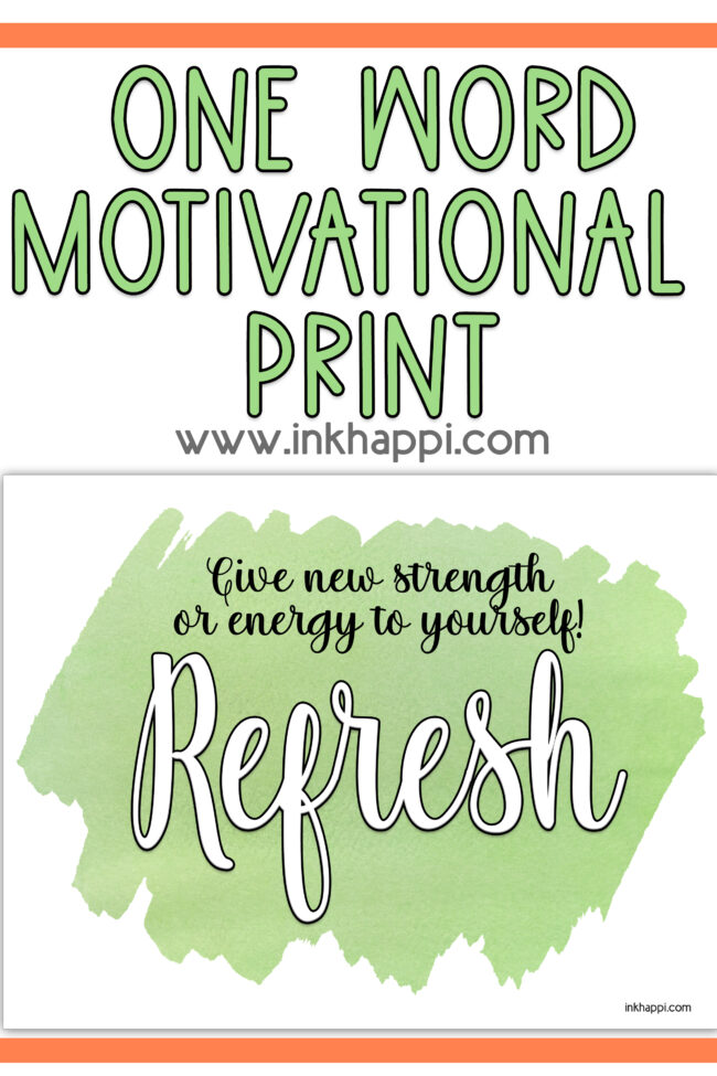 A one word print and thought: Refresh #freeprintable #calendar #refresh #motibationalthoight