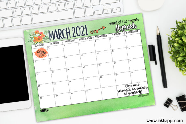March 2021 Calendar #freeprintable #calendar #refresh #motibationalthoight