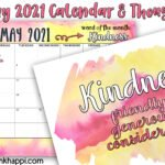 May 2021 Calendar and a thought about kindness
