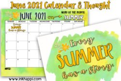 June 2021 Calendar and some quotes about summer #freeprintables #calendar #summer