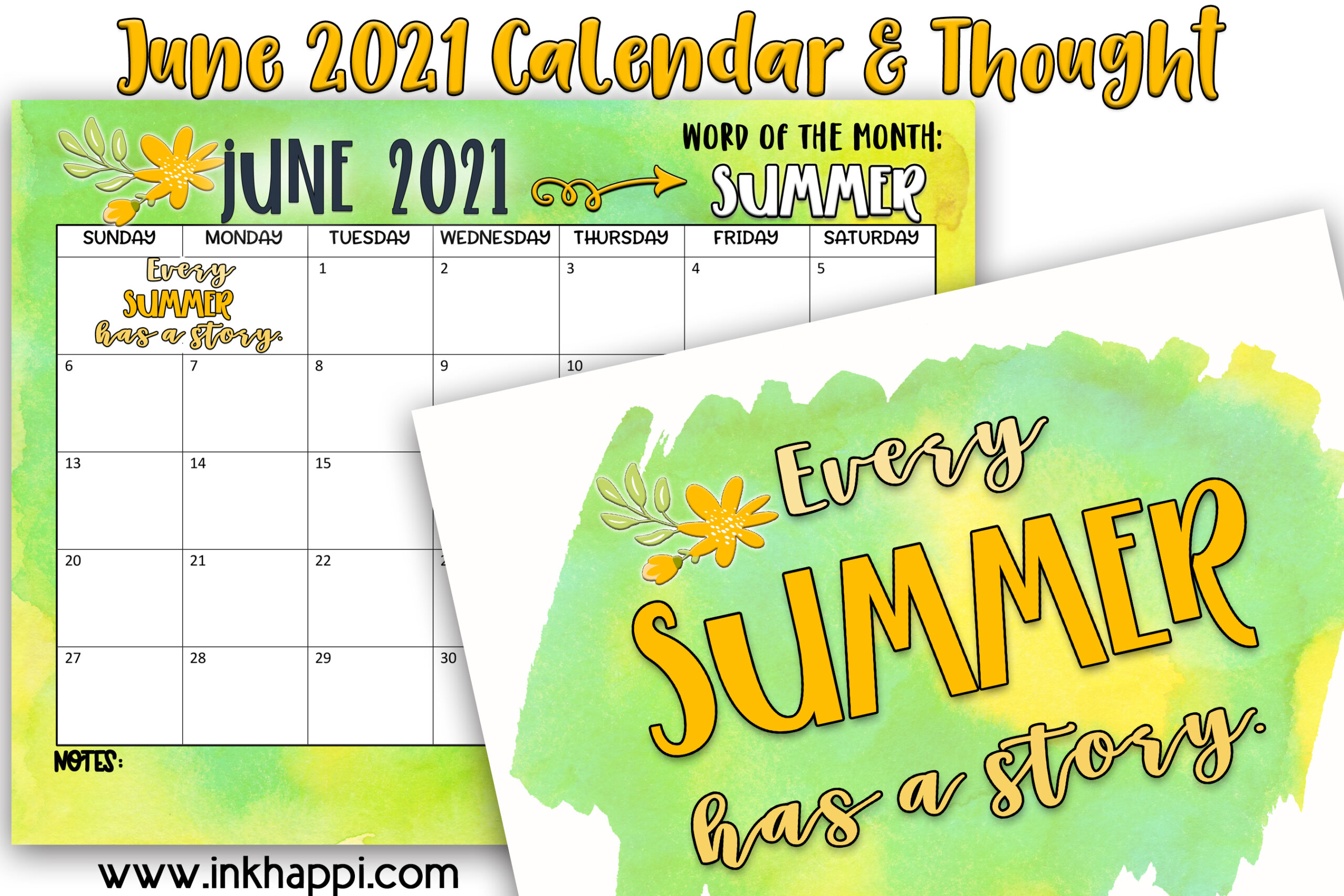 June 2021 Calendar and some quotes about summer