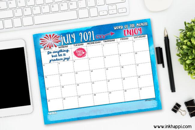 July 2021 calendar free printable!