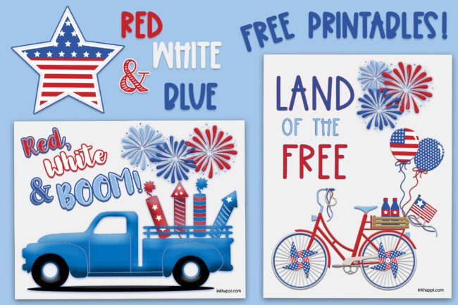 Free patriotic printables. 2 whimsical prints . One has a bicycle and Land of the free. The other one has a blue truck with red, white and BOOM saying! #4thofjuly #freeprintables