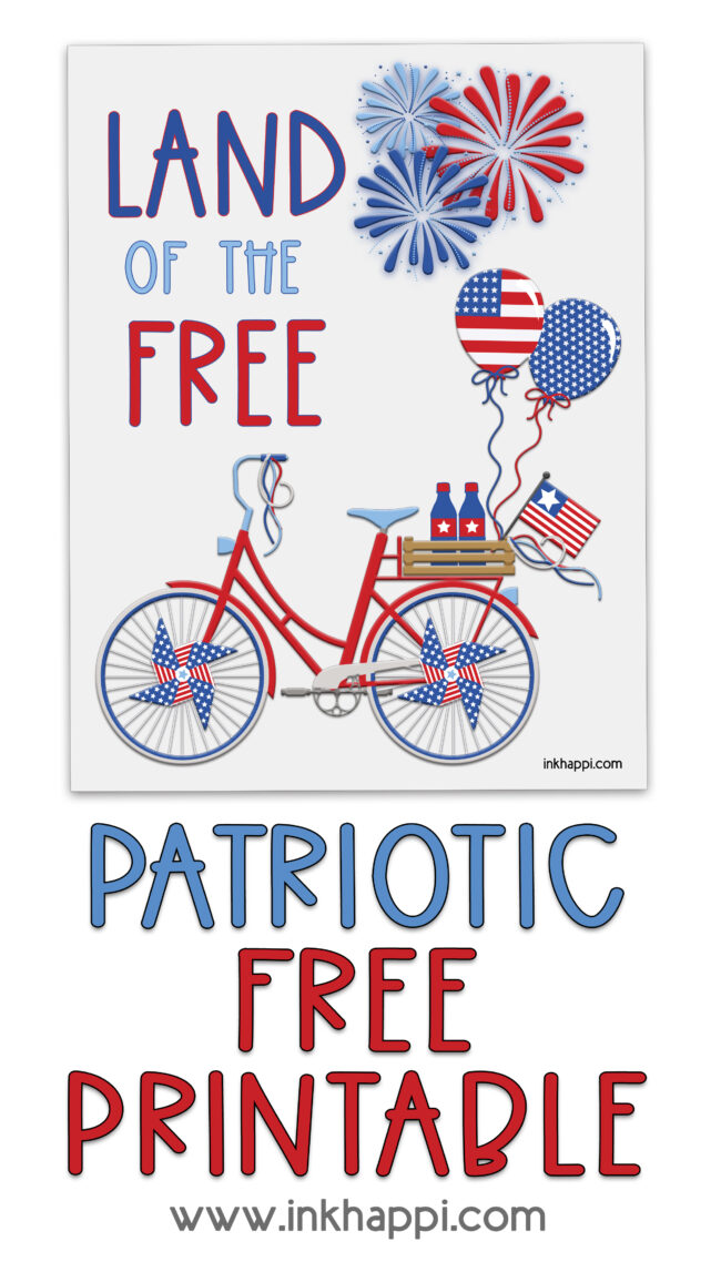 Free patriotic printable. It has a bicycle and Land of the free saying! #4thofjuly #freeprintables