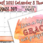August 2021 Calendar and a message about grace.