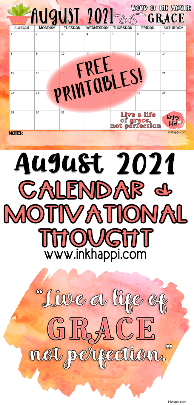 Calendar and a print and thought about Grace. Free printables! #calendar #freeprintables #grace