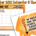 October 2021 Calendar and a thought about being brave
