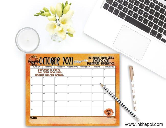 October 2021 Calendar freeprintable. #calendar #freeprintables