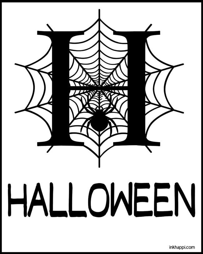 H is for Halloween. Cute free halloween printable #freeprintable #halloween