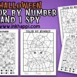 Halloween I spy and color by number activities and treat ideas