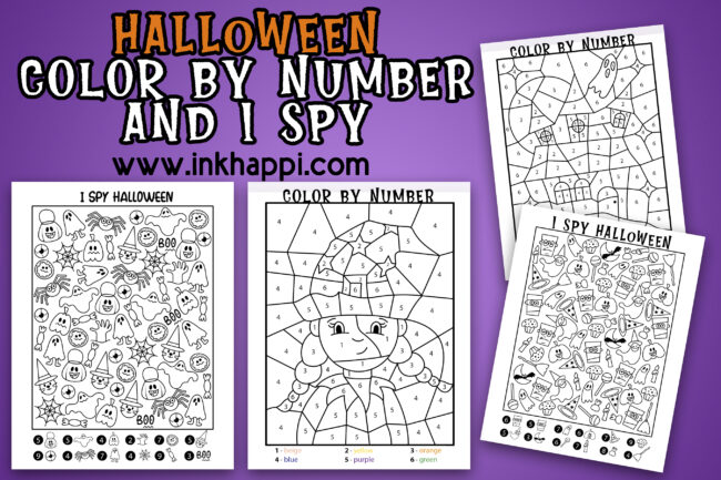 Halloween I spy and color by number activity pages along with some treat ideas. Free printables! #halloween #freeprintables #coloring