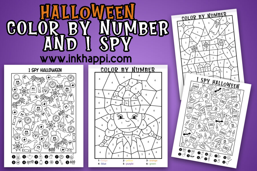 Halloween I spy and color by number activity pages. Free printables! #halloween #freeprintables #coloring