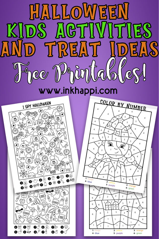Halloween kids activities and treat ideas. #coloring #freeprintables #halloween