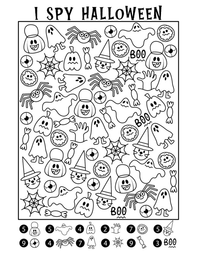 Halloween I spy activity pages. Free printables! #halloween #freeprintables #coloring