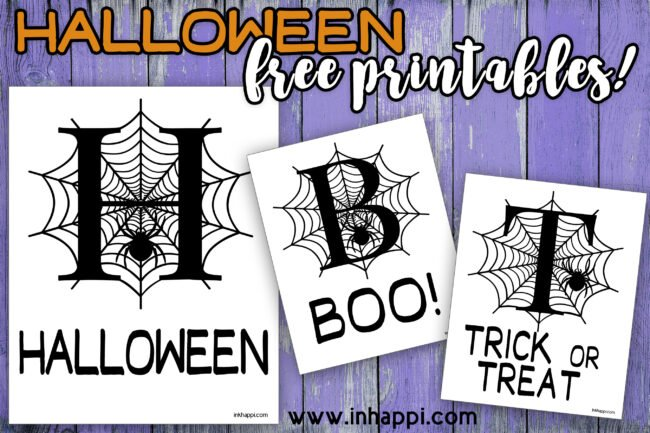 Free halloween printable featuring Alphabet letters. H is for Halloween, B is for BOO, and T is for trick or treat. Cute back and white prints.#freeprintable #halloween
